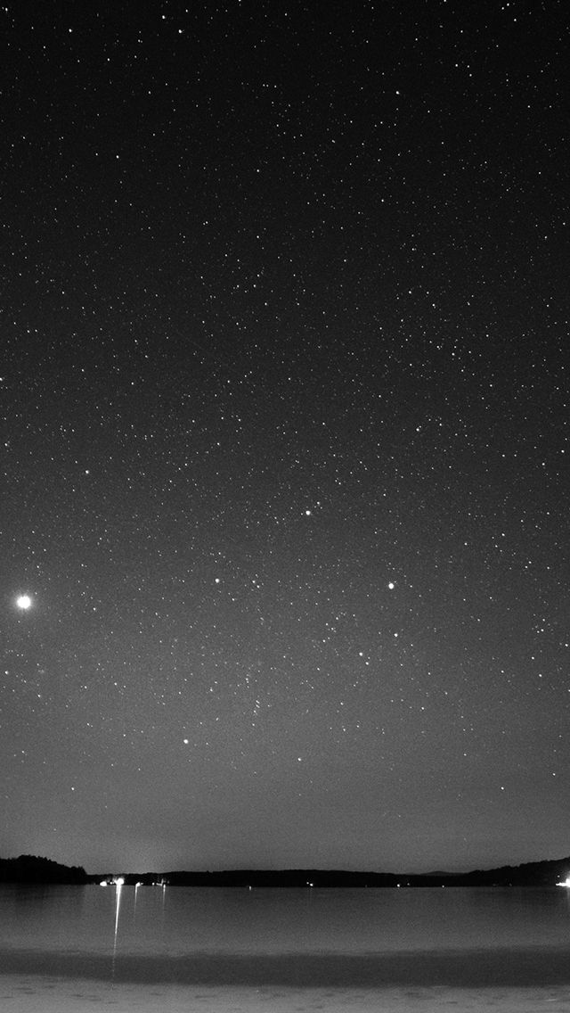 Night Beach Sea Vacation Nature Star Sky Dark Bw #iPhone #5s #wallpaper