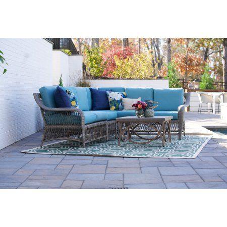 Astonishing Birmingham 5Pc Outdoor Wicker Corner Sectional Blue Home Interior And Landscaping Ologienasavecom