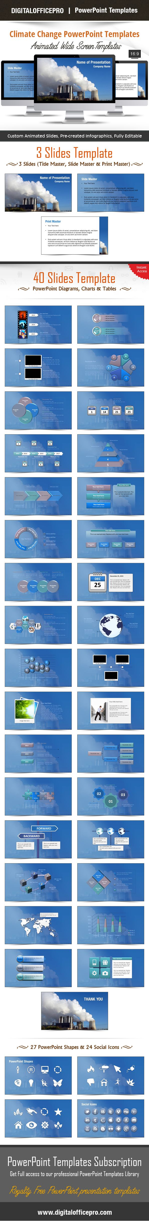 Impress and Engage your audience with Climate Change PowerPoint Template and Climate Change PowerPoint Backgrounds from DigitalOfficePro. Each template comes with a set of PowerPoint Diagrams, Charts & Shapes and are available for instant download.