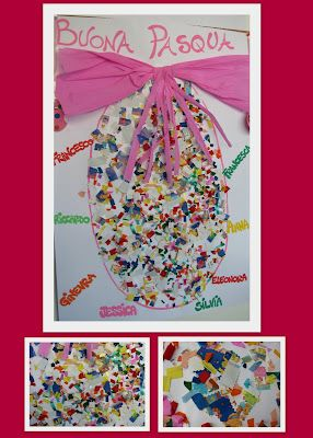 Spring Easter collaboration collage: created in Reggio Emilia Italy. Image from round-up of all sorts of spring Arts ideas