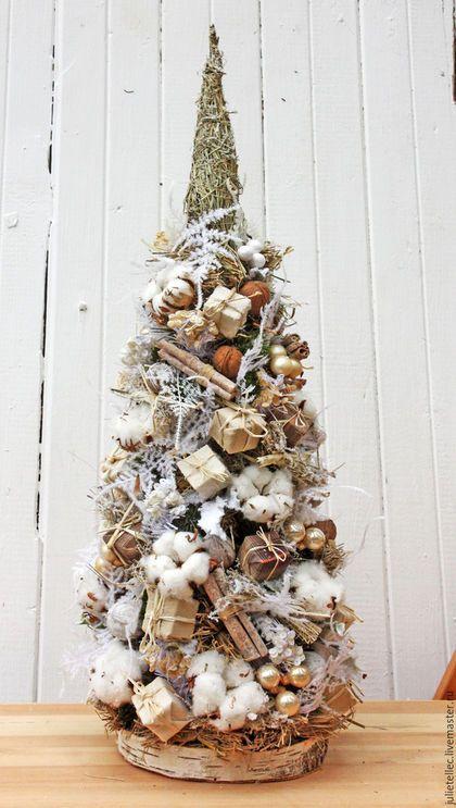 Новый год 2016 ручной работы. Ярмарка Мастеров - ручная работа. Купить Настольная елочка с хлопком. Handmade. Бежевый, елка, рождество