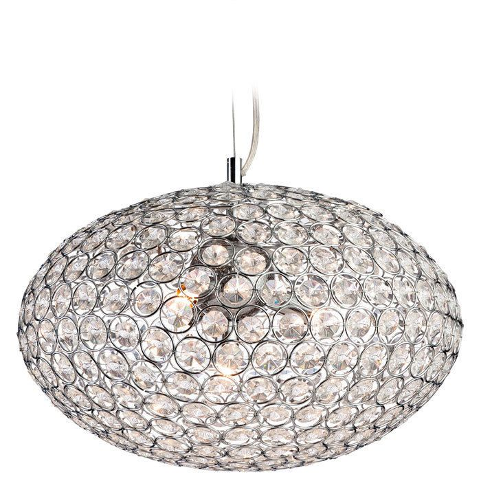Firstlight Oval Pendant In Chrome With Crystal
