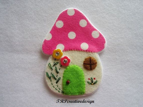 Pink Polkadot Mushroom Big Felt Applique  $4.50: Felt Apply, Mushroom House, Mushrooms Houses