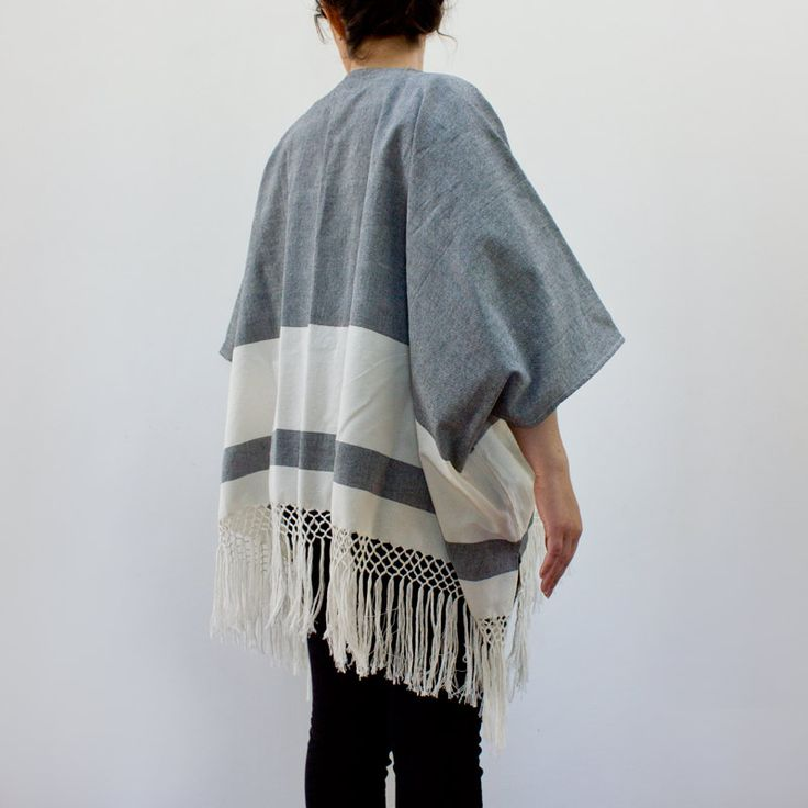 WIND FLOW OPEN PONCHO (FULL BLACK) | Candor Home  |  www.candorhome.com