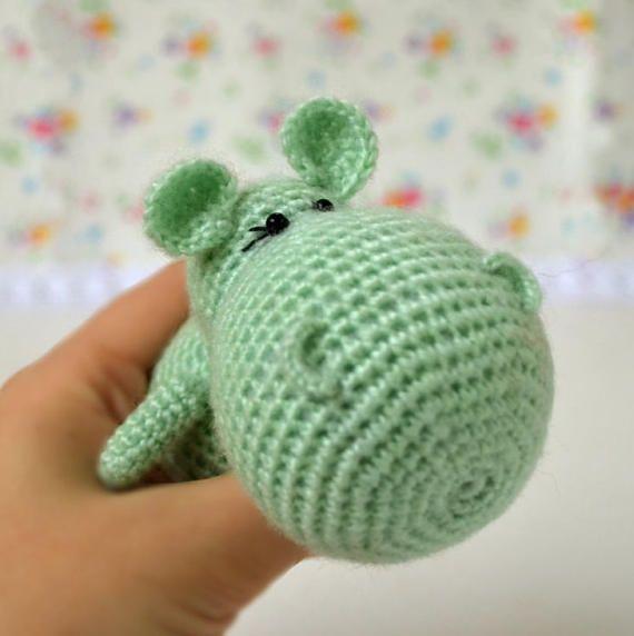 Tiny Hippo mint color Hippo soft toy Crochet toy Stuffed