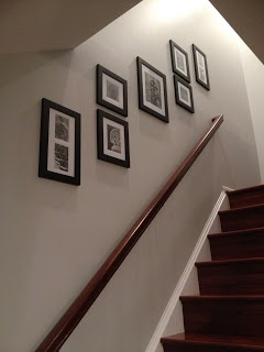 Displaying photos along a stairwell