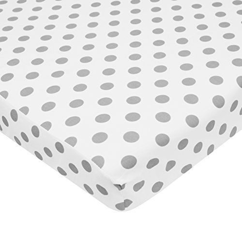 TL Care 100% Cotton Percale Fitted Mini Crib Sheet, White with Gray Dot. For price & product info go to: https://all4babies.co.business/tl-care-100-cotton-percale-fitted-mini-crib-sheet-white-with-gray-dot/