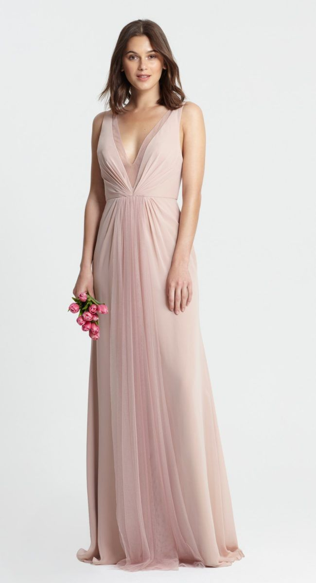 The 98 best images about blush bridesmaid dresses on for Monique lhuillier pink wedding dress
