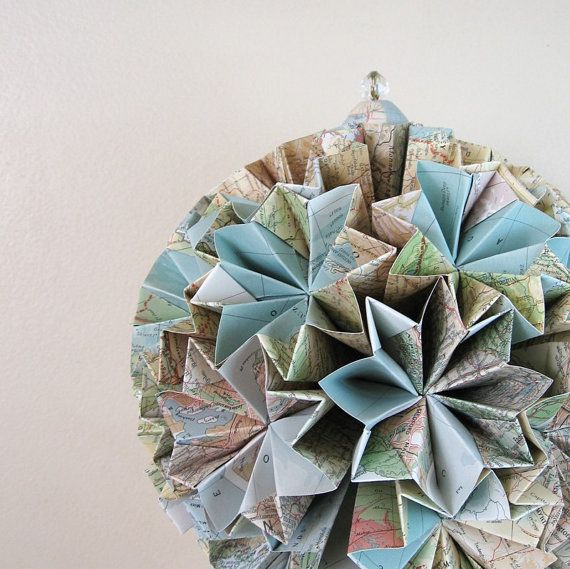 recycled  map origami globe
