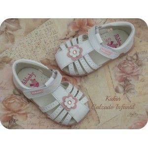 sandalias niña - calzado infantil - moda infantil Sandalias de piel en color blanco Pablosky