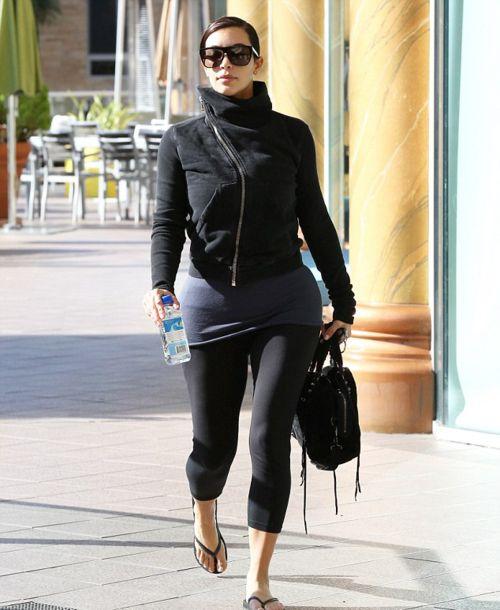 Kim Kardashian - Zip-Up Sweater, Leggings & Flip Flops