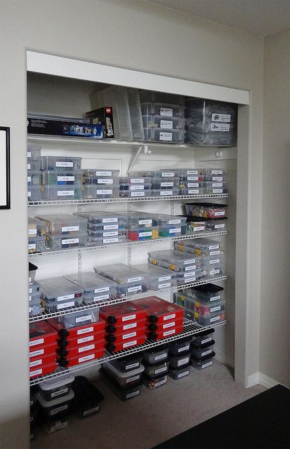 lego storage!! See I am not the only crazy person that organizes their lego's by set!!  Check out her blog awesome!!