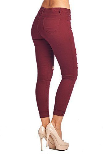 63b95737991ee0 Women's Hight Waisted Butt Lift Stretch Ripped Skinny Jeans Distressed  Denim Pants at Amazon Women's Jeans