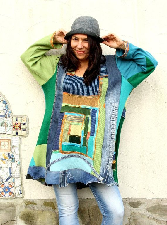 Reserved for Sherreyl Gilchrist, do not purchase this item. Deep colors recycled wool sweaters, ribbings and denim appliqued sweater dress top. Made from recycled pure wool sweaters and denim. Remade, reused, upcycled. Hippie boho fantasy style. Nice, warm and soft in touch. A little stretching. Useful and comfortable. Unique design. One of a kind. Size: L-XXL (european 40-44) Bust line max even 53 inches (134 cm)!!! Hips line max 55 inches (140 cm) Length: 34-35 inches (86-90 cm) Wash…