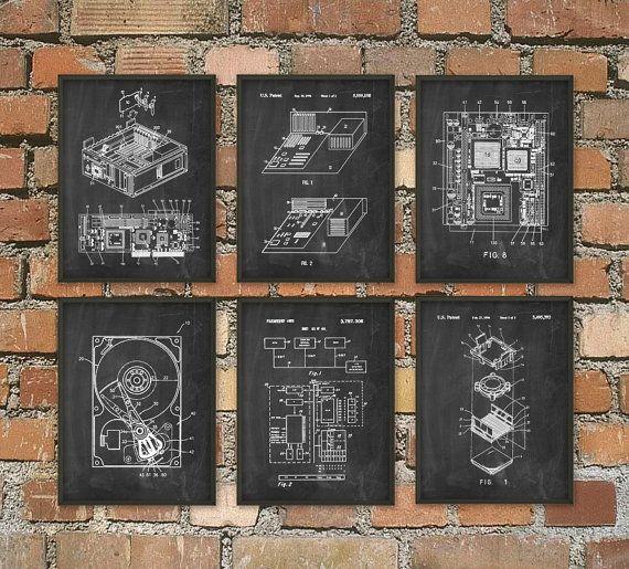 Computer Patent Print Set of 6  Computer Room by QuantumPrints