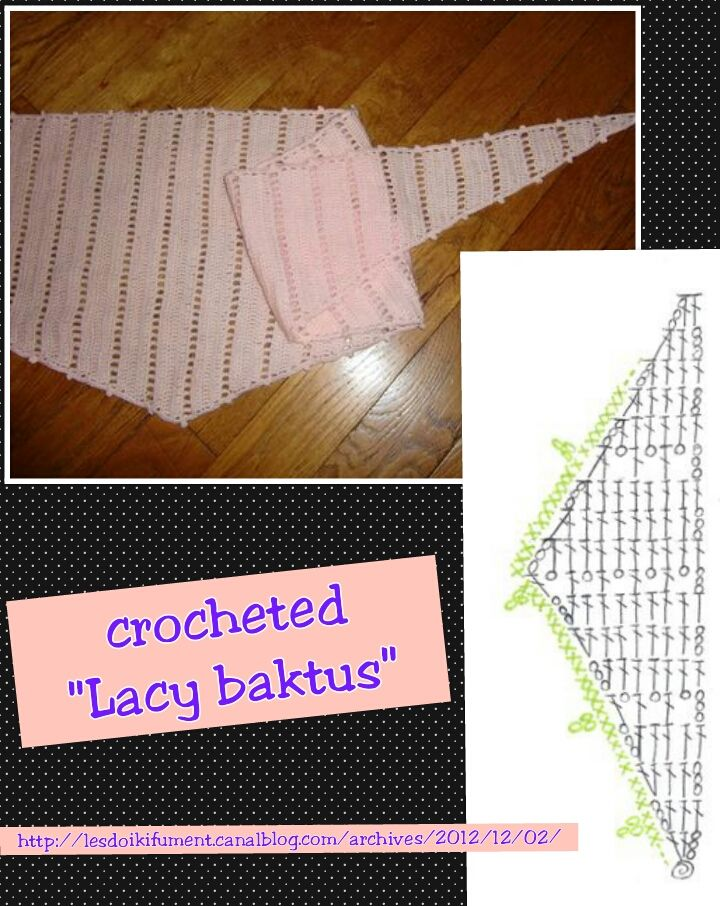 """Lacy baktus""   crocheted variant of the knitted one ~ http://lesdoikifument.canalblog.com/archives/2012/12/02/25723014.html"