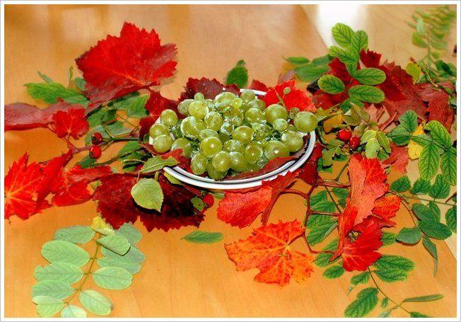 @vontagzutagmari Tischdeko mit Obst. Weintrauben umgeben von Herbstlaub und wildem Wein. http://vontagzutag-mariesblog.blogspot.co.at/