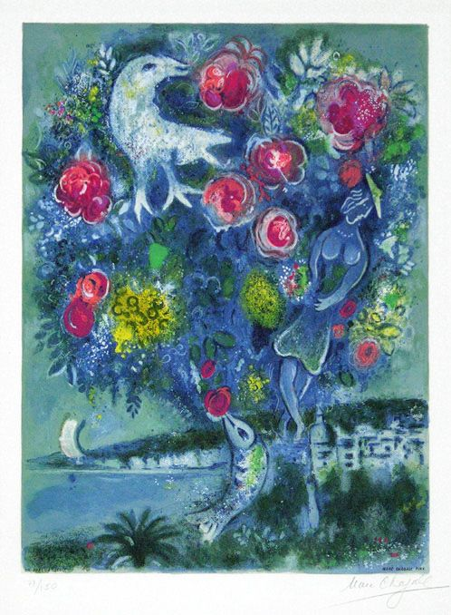 Chagall Hand Signed Color Lithograph | Angel Bay with a Bouquet of Roses