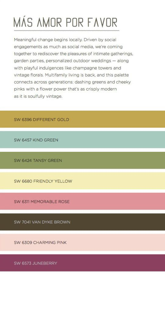 Mas Amor Por Favor Sherwin Williams Color Predictions Guide 2016