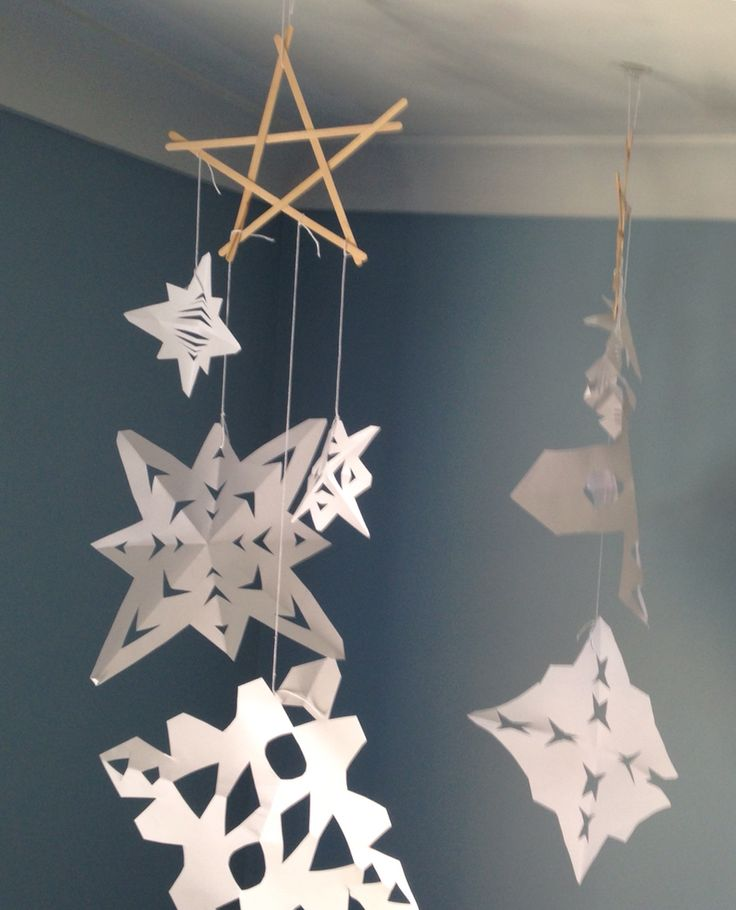 Wooden star snowflake decoration for Christmas