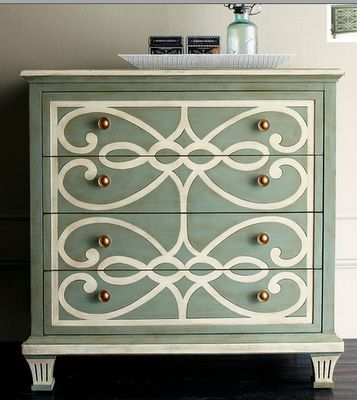 Painted dresser.: Paintings Furniture, Idea, Color, Old Dressers, Dressers Makeovers, Paintings Dressers, Guest Rooms, Stencil, Chest Of Drawers