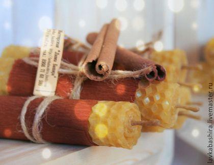 Свеча восковая из вощины с корицей - воск,вощина,воск пчелиный,Свечи,свечи ручной работы