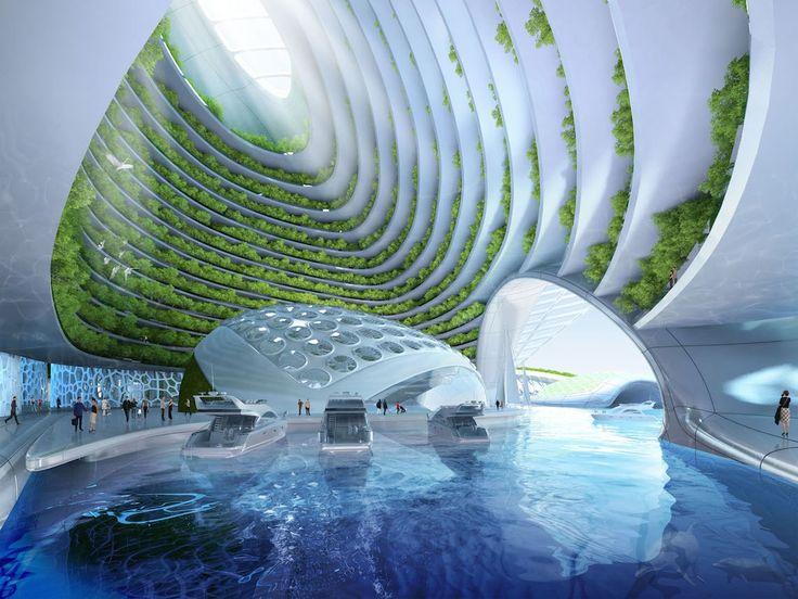 Living Design - cenário do projeto futurista Aequorea, por Vincent Callebaut