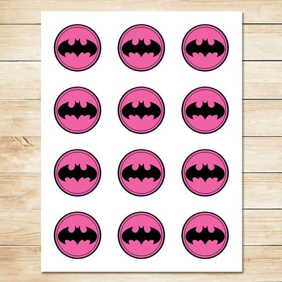 Pink Batman Sticker // Pink Batman Cupcake by ApothecaryTables