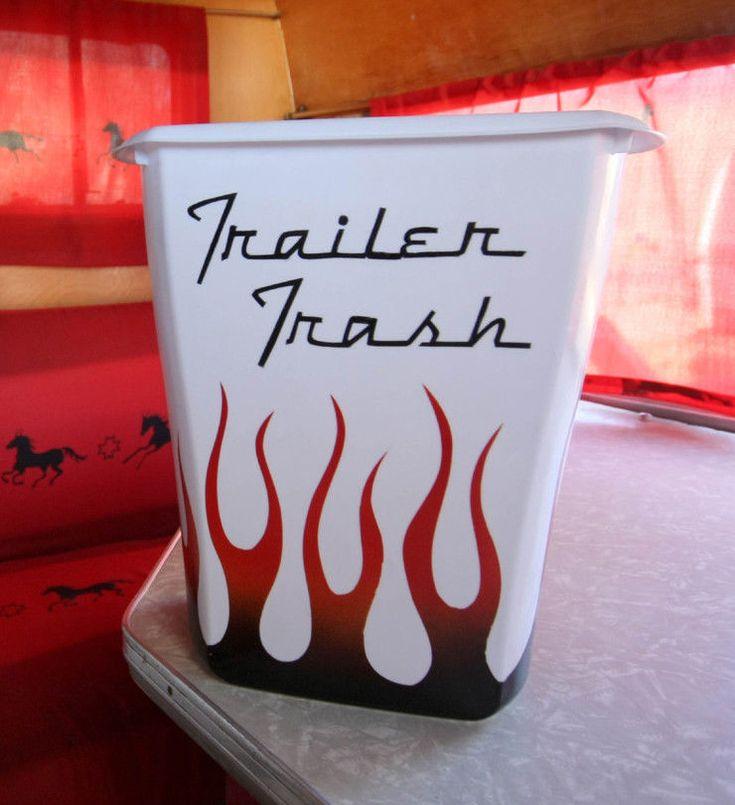 "Flames ""Trailer Trash""  for  Vintage Canned Ham Travel Trailers, RV, Toy Hauler"