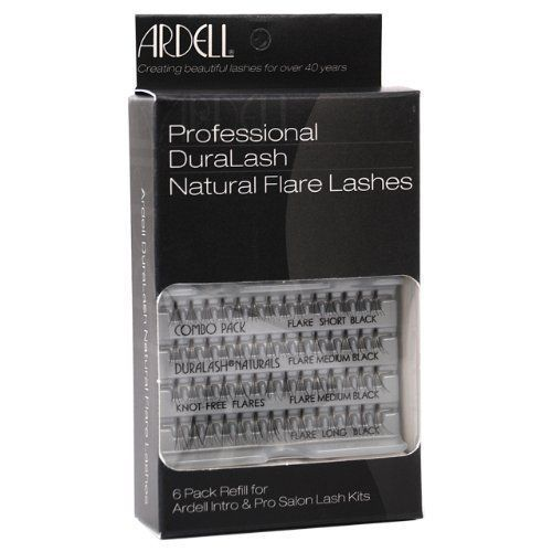 Ardell False Eyelashes 6 pack DuraLash Naturals Combo Black Individual Lashes by Ardell. Save 41 Off!. $18.90. They're so natural you forget they're not your own, and they can be worn for up to 6 weeks at a time.. These exclusive knot-free individual lashes are permanently curled, waterproof, easy to apply, and comfortable to wear.. DuraLash individual lashes are the closest thing to natural lashes ever developed.. One DuraLash package contains 56 lashes (14 Small, 28 Medium, ...