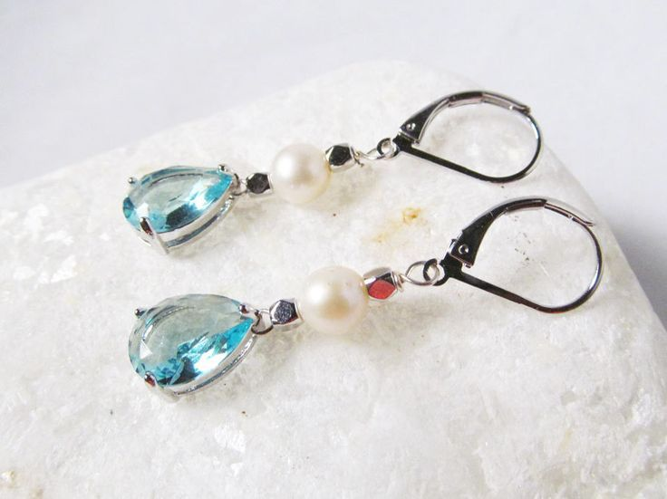 aquamarine earrings, aquamarine drop earrings, aquamarine and pearl earrings,aquamarine jewlery, aquamarine earings - pinned by pin4etsy.com