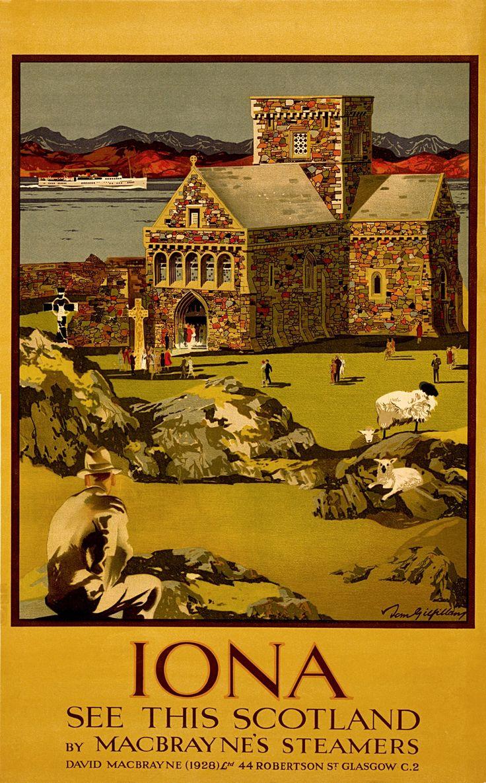 Vintage Scotland - IONA - See this Scotland - Travel Poster