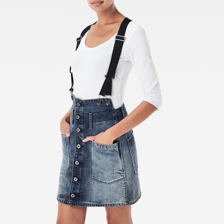 G-Star RAW | Women | Workwear | Dadin Tailored Braces A-line Skirt , Dk Aged Antic Restored 91