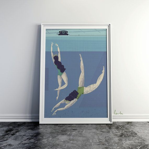 Swimming Pool. Illustration art. Giclée print on archival paper. A2 Poster.