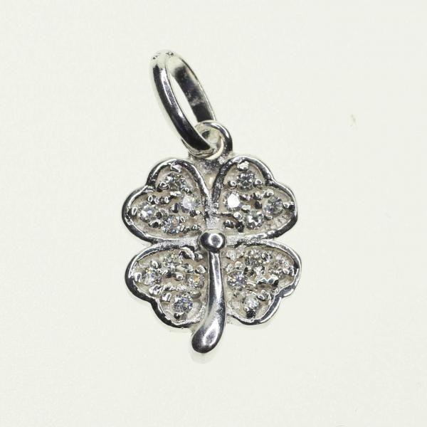 Sterling Silver Four Leaf Clover Crystal Charm