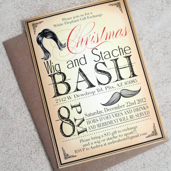 Vintage Style Mustache and Wig Christmas Party by ChampagnePress, $2.00