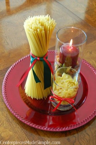 Simple table decor for Italian night | pasta centerpiece invites the ...