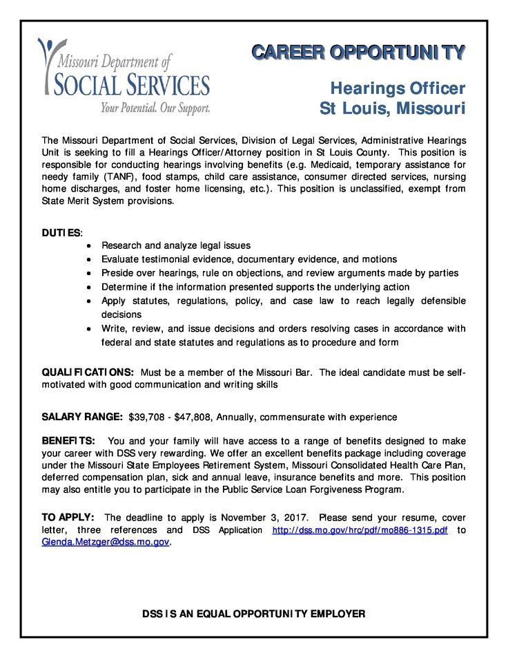 Missouri Department of Social Services is hiring a Hearings - public service officer sample resume