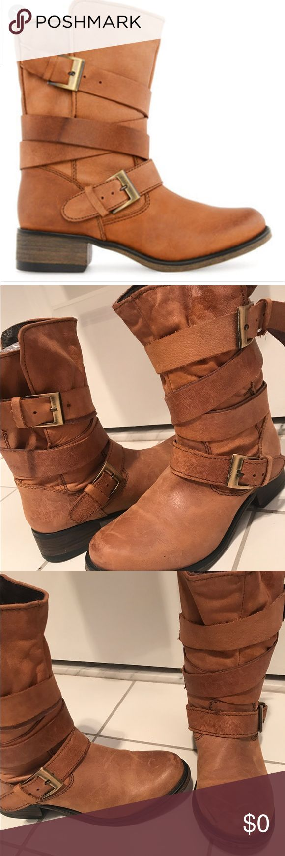 Steve Madden Brewzzer Buckle Boot STEVE MADDEN BREWZZER BOOT  NEW. Color: Cognac. Scuffing shown in front of boot is the look (they are a distressed look boot). Pic of bottoms show they are NEW.  SIZE 6.  Description of the boot is captured in one of the screenshot pic. for more information. 🚫NO TRADES🚫. steve madden Shoes Ankle Boots & Booties