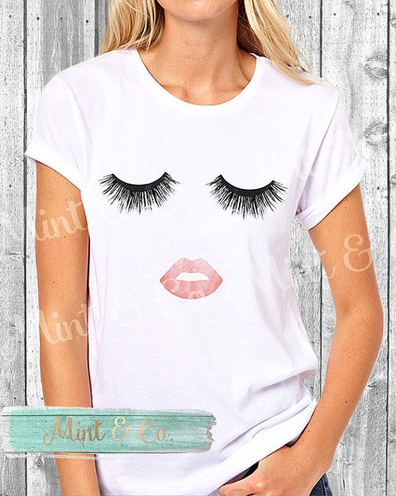 Lips & Lashes T-Shirt Makeup Print Tee  by MintandCompany on Etsy