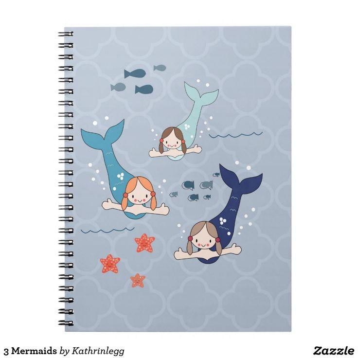 3 Mermaids by Kathrin Legg Spiral Notebook