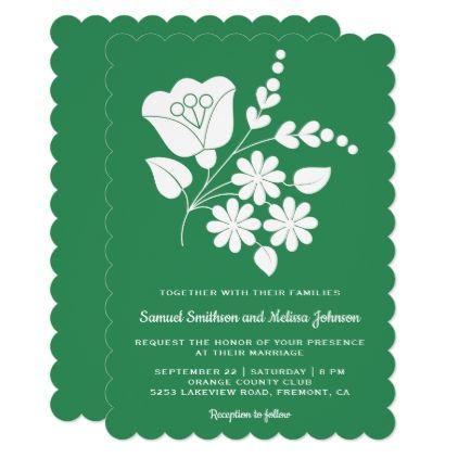 Motif Floral Folk Art Sea Green Wedding Invitation - white gifts elegant diy gift ideas