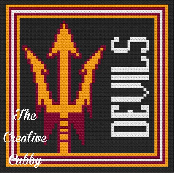Arizona State University Pitchfork Cross Stitch Pattern