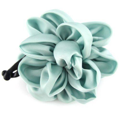 Mint Powder Blue - Silky Satin - Floral Bow - Banana Hair Clip by Evolatree. $14.99. Save 44%!