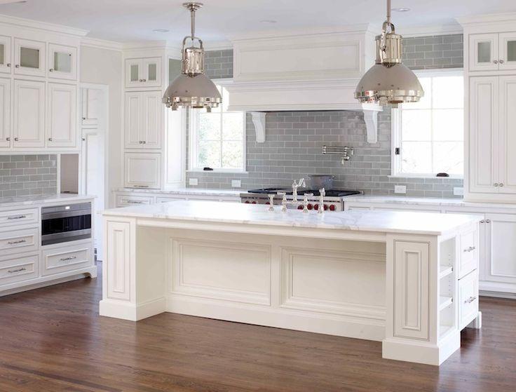 L. Kae Interiors - kitchens - Ralph Lauren Montauk XL Pendant, white and gray kitchen, white cabinets, beaded cabinets,