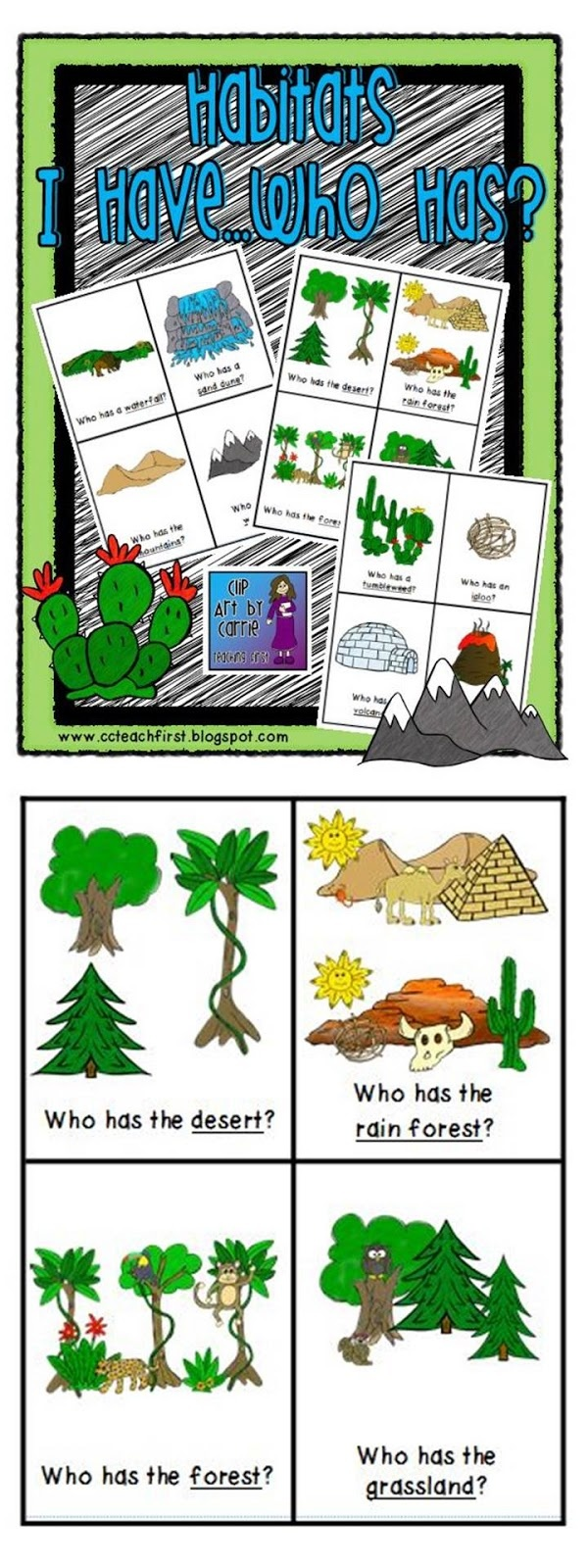 Clip Art by Carrie Teaching First: Habitats I Have Who Has Game