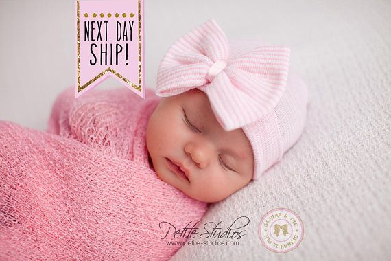 Baby girl hospital hat, Newborn girl hospital hat with bow, Coming home baby girl, Newborn girl **ALL HATS ARE INDIVIDUALLY MADE USING USA HOSPTIAL APPROVED MEDICAL GRADE MATERIAL** **Every hat comes in its own FREE keepsake organza bag - perfect for gift giving** Add a gold gift card