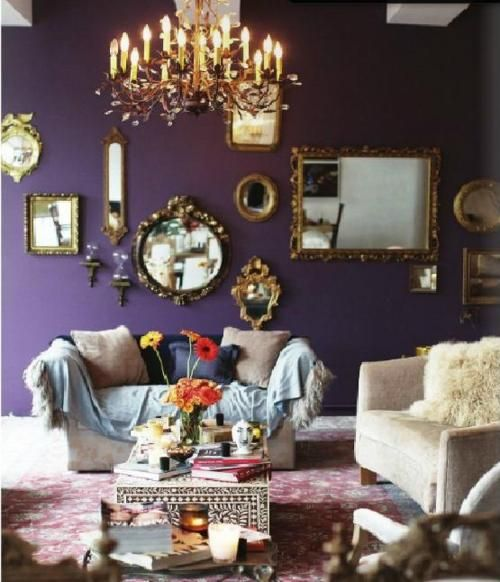 Gorgeous gold mirrors - I love the purple, too, but it's too dark for my house. How I love the Decorista!