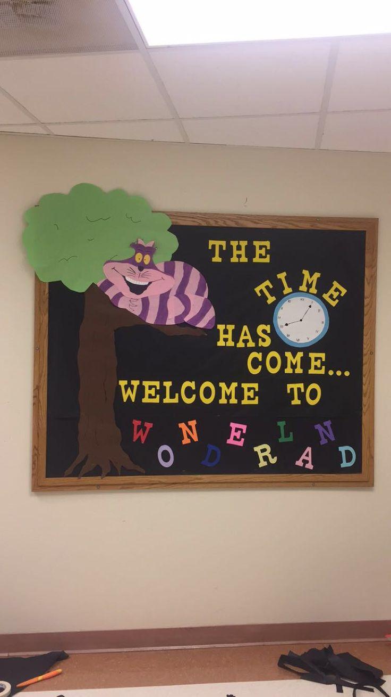 Alice in wonderland RA welcome bulletin board