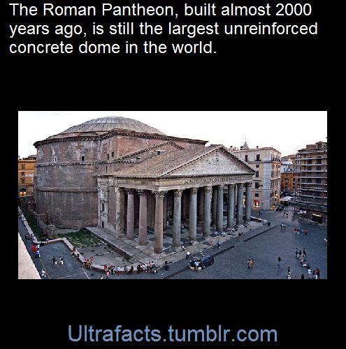 The Romans used methods to make it stable. There's a supportive ring around the outside of the dome, arches made within the dome, and the concrete is cutout in patterns that seem to be decorative, but also serve to lighten it a great deal. Upon this, the Romans had created several types of concrete, concrete that can rival or in certain conditions surpass modern concrete.